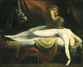 "Sleep Paralysis Depiction by Johann Heinrich Füssli in ""The Nightmare"""