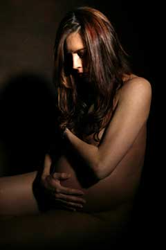 Shadowy image of pregnant women