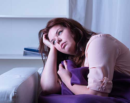 Lady with rebound insomnia unable to sleep