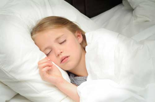 Little blonde girl sleeping