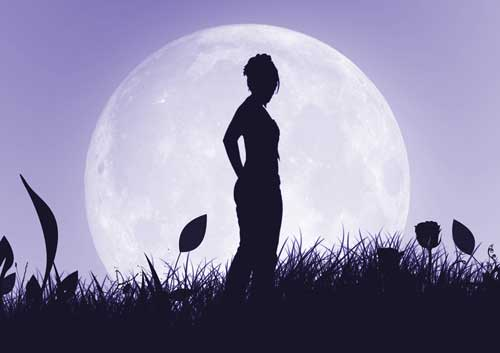 Sleepwalking Image - Woman sillhouetted against large moon