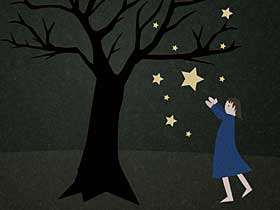 Illistration of person catching falling stars.