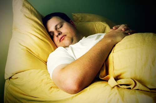 Overweight man sleeping